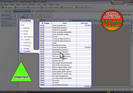 Le plan comptable et les classes comptables dans Ciel Compta